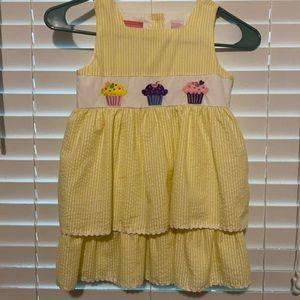 Ellemenno Yellow/White Checks Tiered Skirt